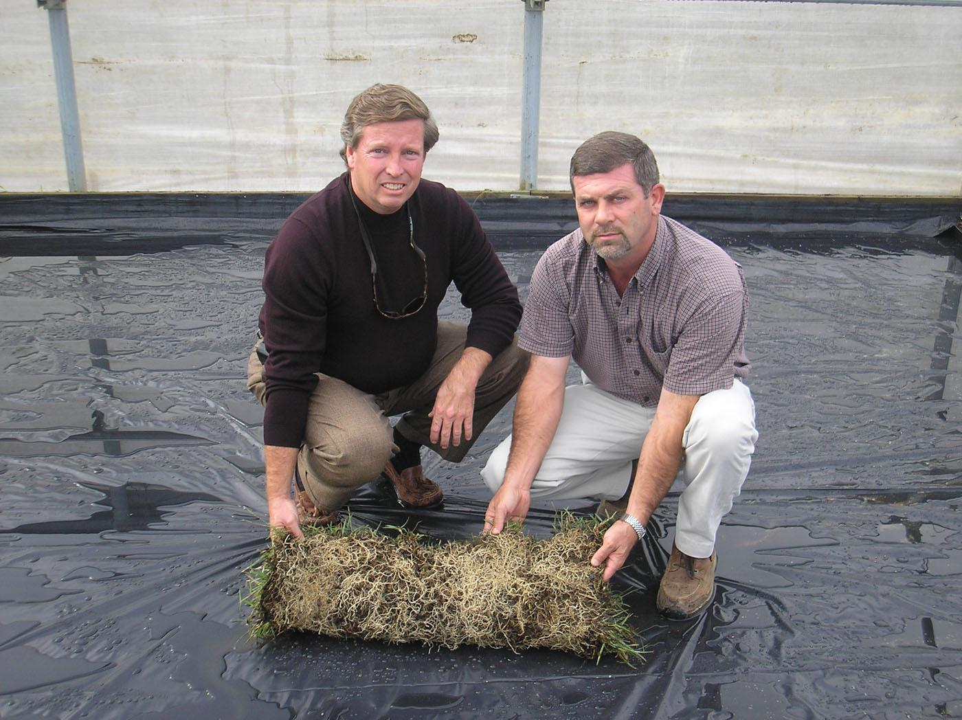 Phillip Jennings Turf Farm in Soperton, Ga., has acquired the rights to commercialize soilless sod produced with technology developed and patented by Mississippi State University. Phillip Jennings, left, the company's president and owner, and Mike Fulghum hold a completed section of soilless sod in a greenhouse ready to receive a new crop.