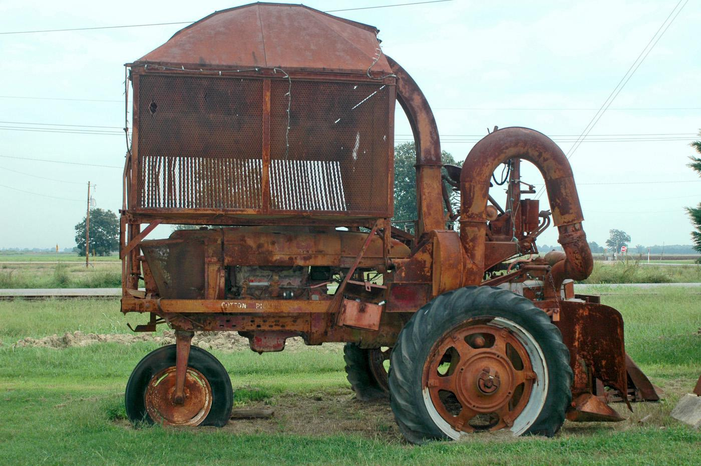 The M12H harvester at the Hobson Plantation was produced in the late 1940s. It was among the second generation of commercially successful cotton pickers to hit the market. Hopson Plantation was the site of field tests for mechanical pickers from the 1920s through the 1940s. (Photo by Bob Ratliff)