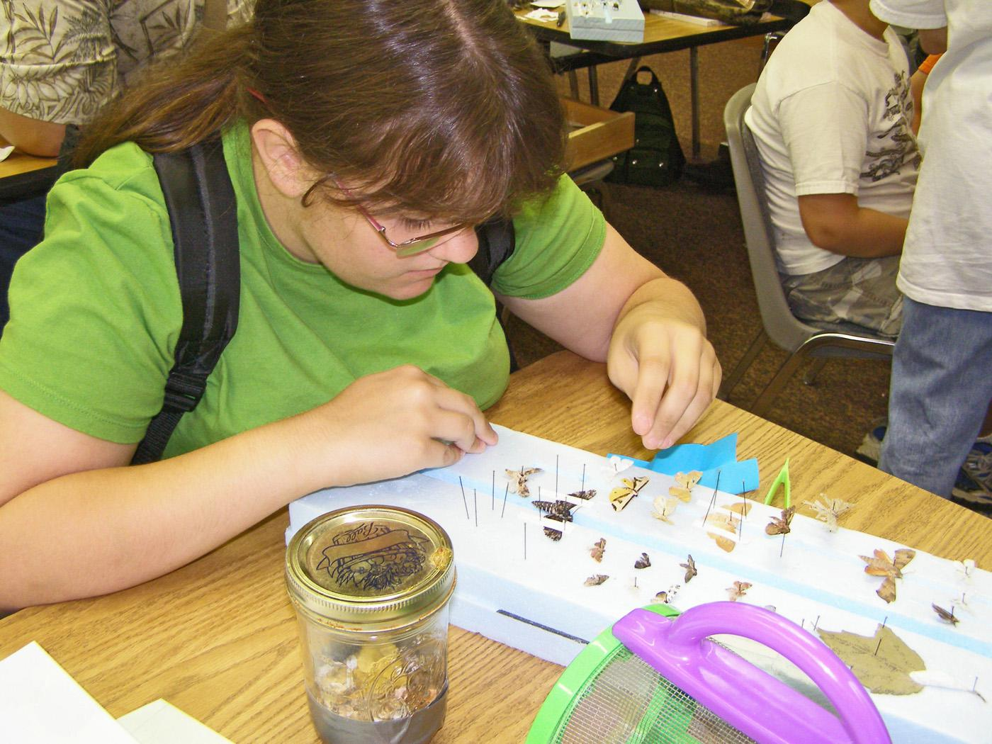 Deanna Lyle, of Aberdeen, uses pins and a spreading board to dry specimens for her insect collection. Lyle, who plans to be an entomologist, attended Mississippi State University's annual 4-H Entomology and Horticulture Camp in 2008. (Photo by MSU Wildlife and Fisheries/John Guyton)