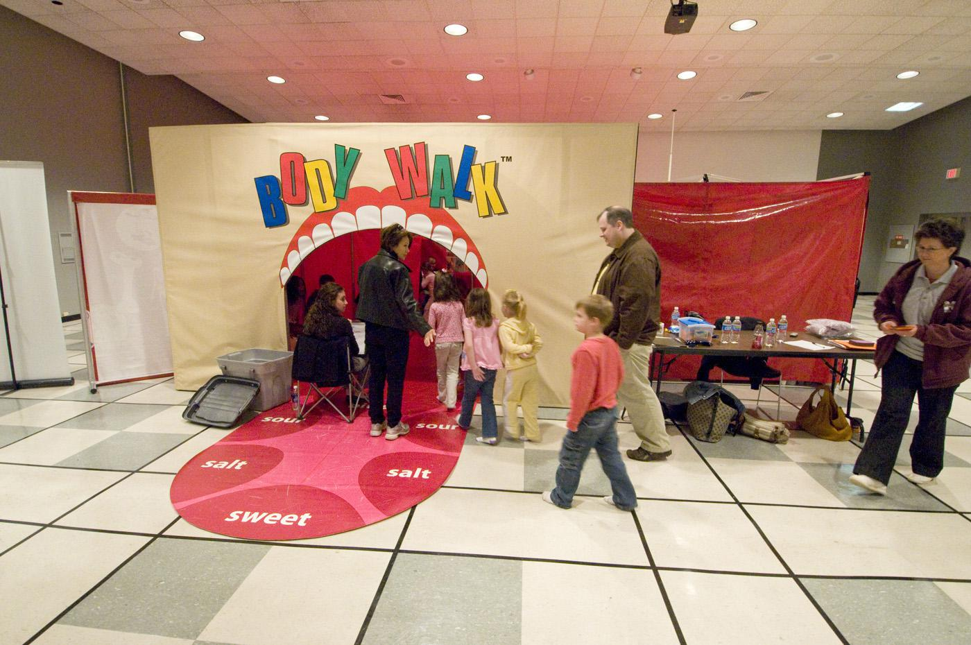 Students go in the mouth of a model of the human body and explore for 30 minutes as volunteers teach them fun, healthy lessons about their bodies. The Body Walk exhibit, sponsored by MSU's Extension Service and Family Nutrition Program, will be returning to elementary campuses across the state from the last week of August until May. (MSU Ag Communications File Photo)