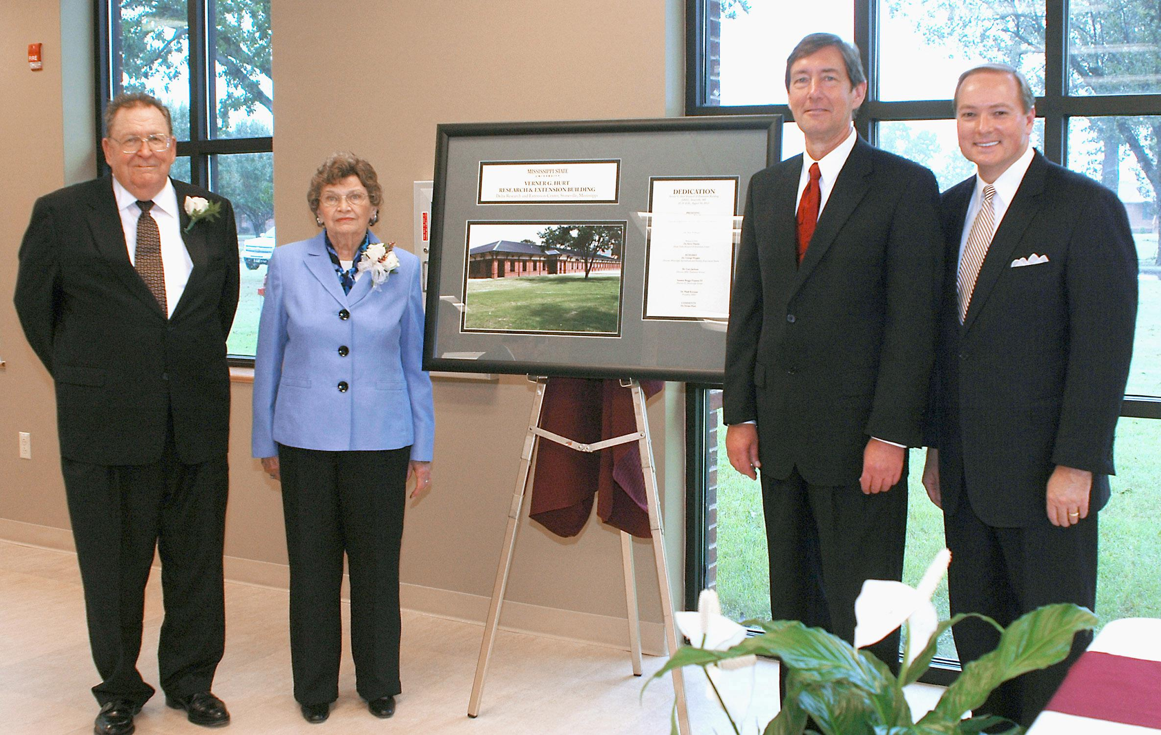 Verner G. Hurt, from left, and his wife, Norma, join Mississippi State University Vice President Greg Bohach and MSU President Mark Keenum at the Aug. 30 dedication of the Verner G. Hurt Research and Extension Building in Stoneville. The new building provides more than 19,000 square feet for offices and research. (Photo by MSU Delta Research and Extension Center/Rebekah Ray)