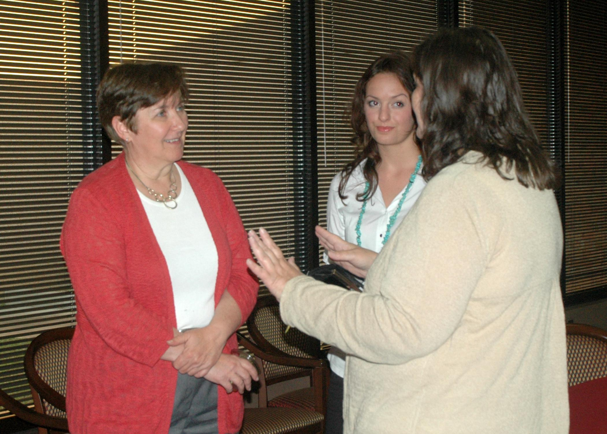 Ruth Hambleton (left), who founded Annie's Project in 2003, talks with graduates of the program May 7 at the program's 10th anniversary celebration. Annie's Project teaches females in agriculture-related fields problem-solving, record keeping and decision-making skills. (Photo by MSU Ag Communications/Susan Collins-Smith)
