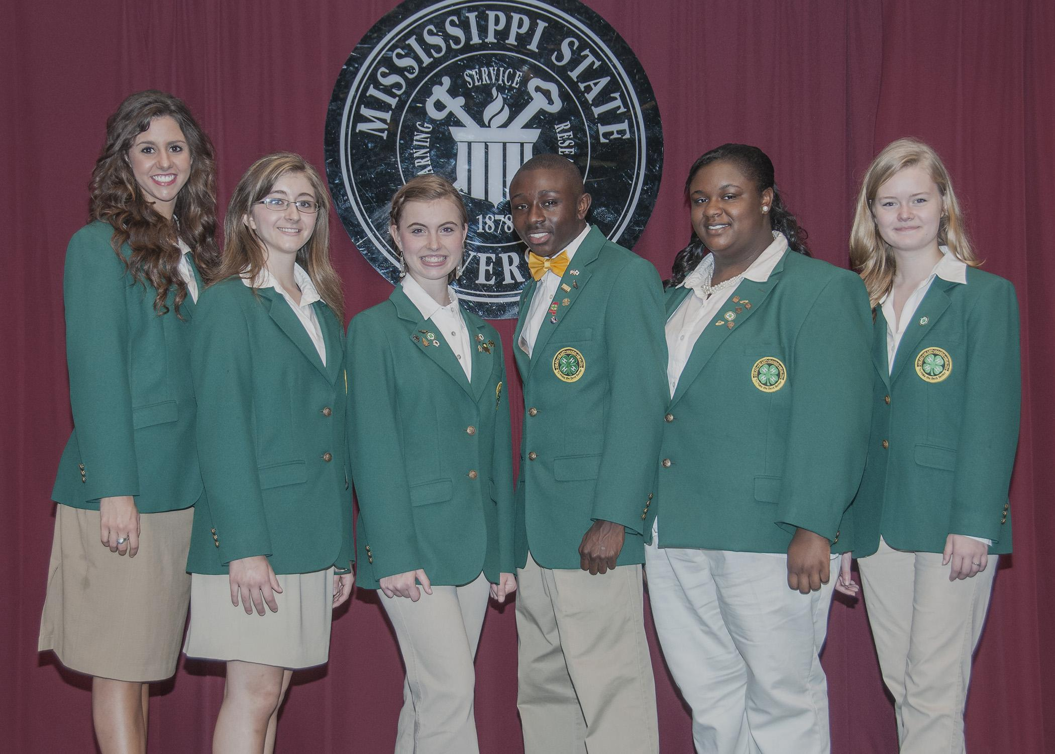 Six 4-H leaders will represent the state at the 2014 National 4-H Conference in Washington, D.C.. From left are: Belle Failla of Hancock County; Marisa Laudadio of Alcorn County; Mary Kate Gaines of Tate County; Mitchell Young of Oktibbeha County; Timera Rodgers of DeSoto County; and Elsa Schmitz of Pearl River County. (Photo by MSU Ag Communications/Scott Corey)