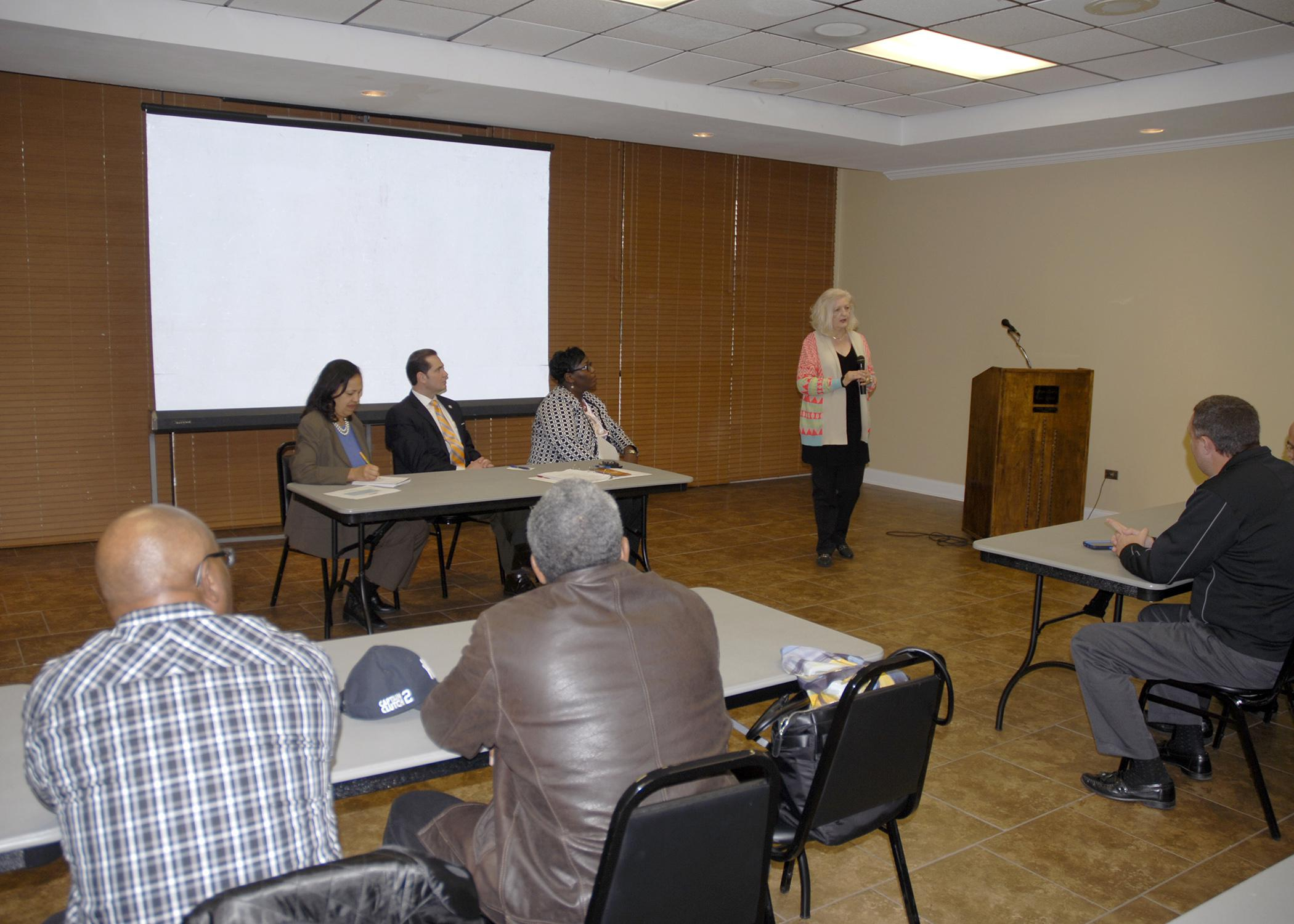 U.S. Department of Agriculture Under Secretary for Rural Development Lisa Mensah, seated at left, visited Mississippi Jan. 23, 2015 during her first trip since being confirmed for the post. (Photo by MSU Ag Communications/Nathan Gregory)
