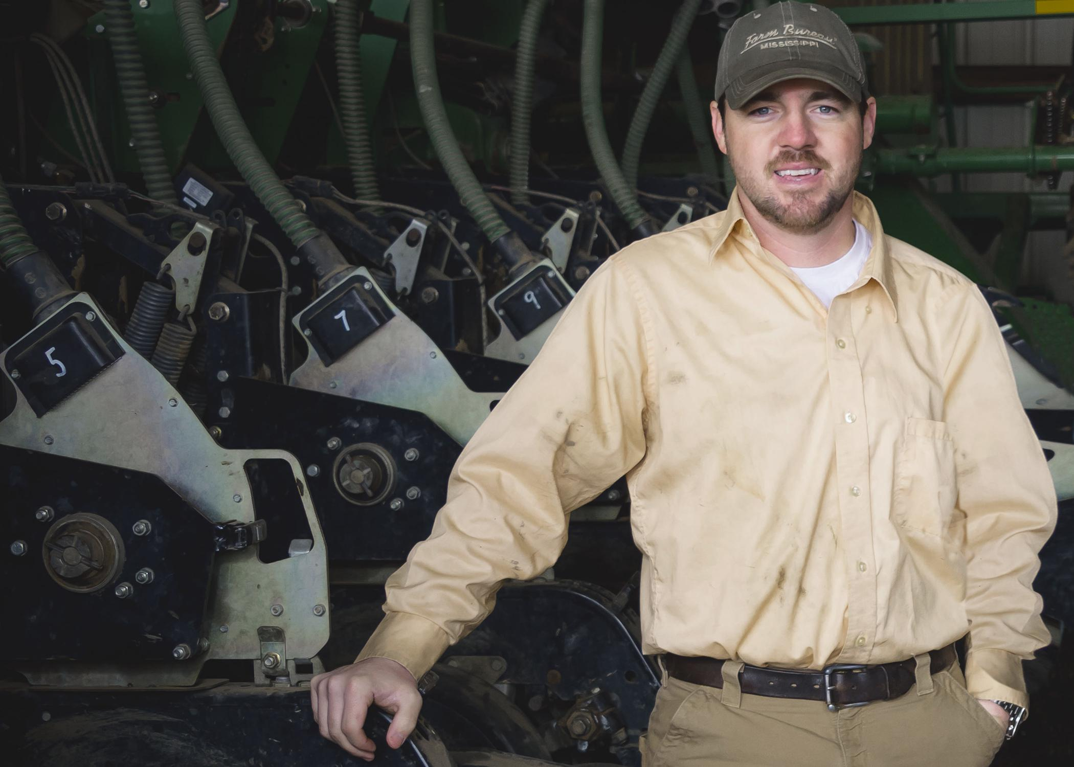 Judd Davis' education did not stop when he graduated from Mississippi State University in 2007, and he continues learning how to be a better farmer on his family's land in Bolivar County. This photo was taken on his farm near Shaw, Mississippi, on Feb. 27, 2015. (Photo by MSU Ag Communications/Kevin Hudson)