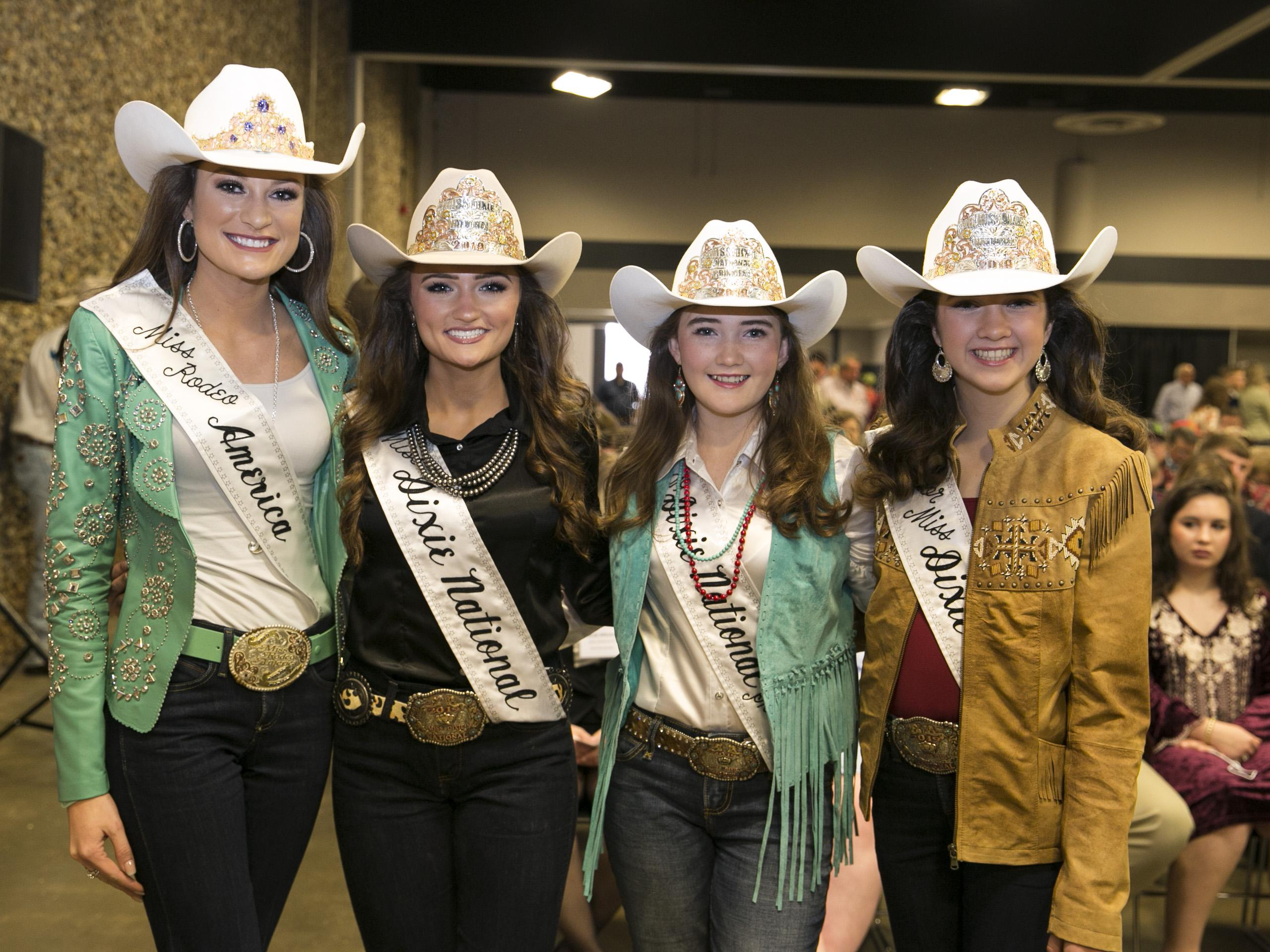 Four girls wearing cowboy hats and sashes at the 2019 Sale of Champions.