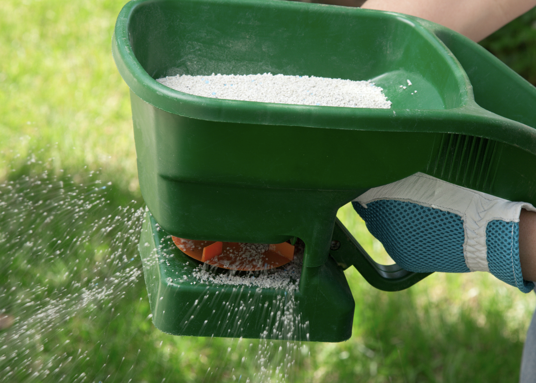 A person using a green manual fertilizer.