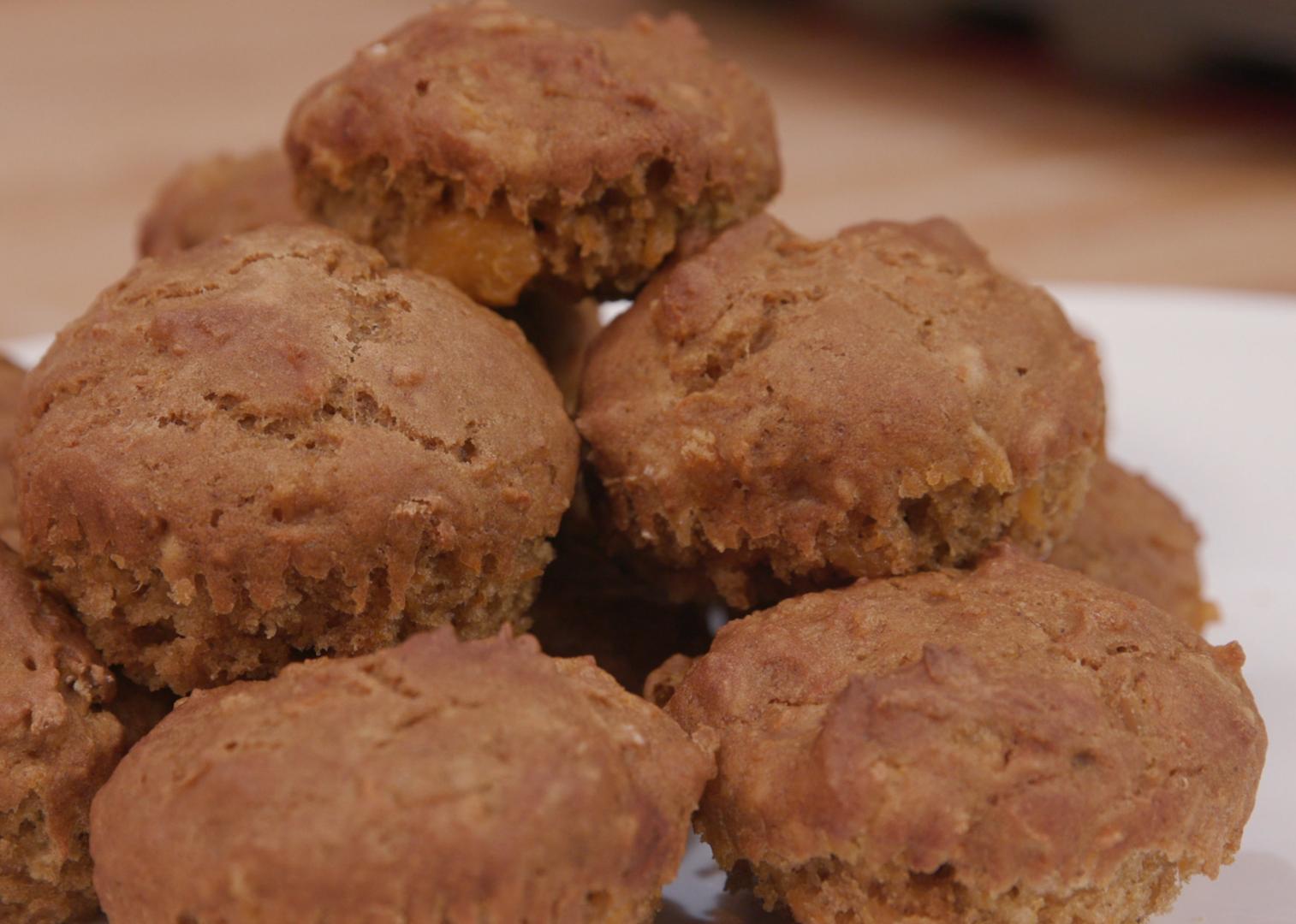 Sweet potato muffins on a white plate