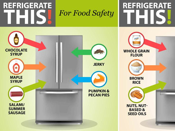 graphic showing items that need to be refrigerated