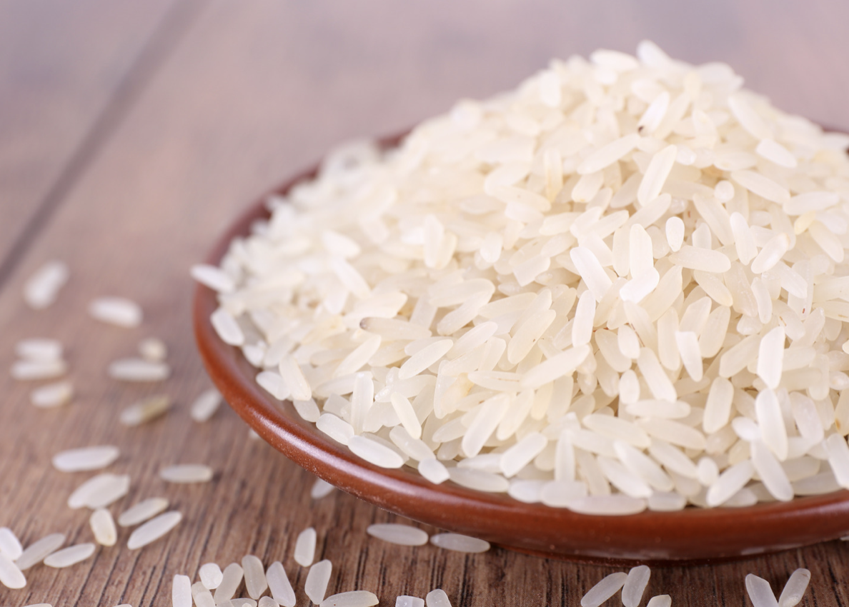 a bowl of uncooked rice