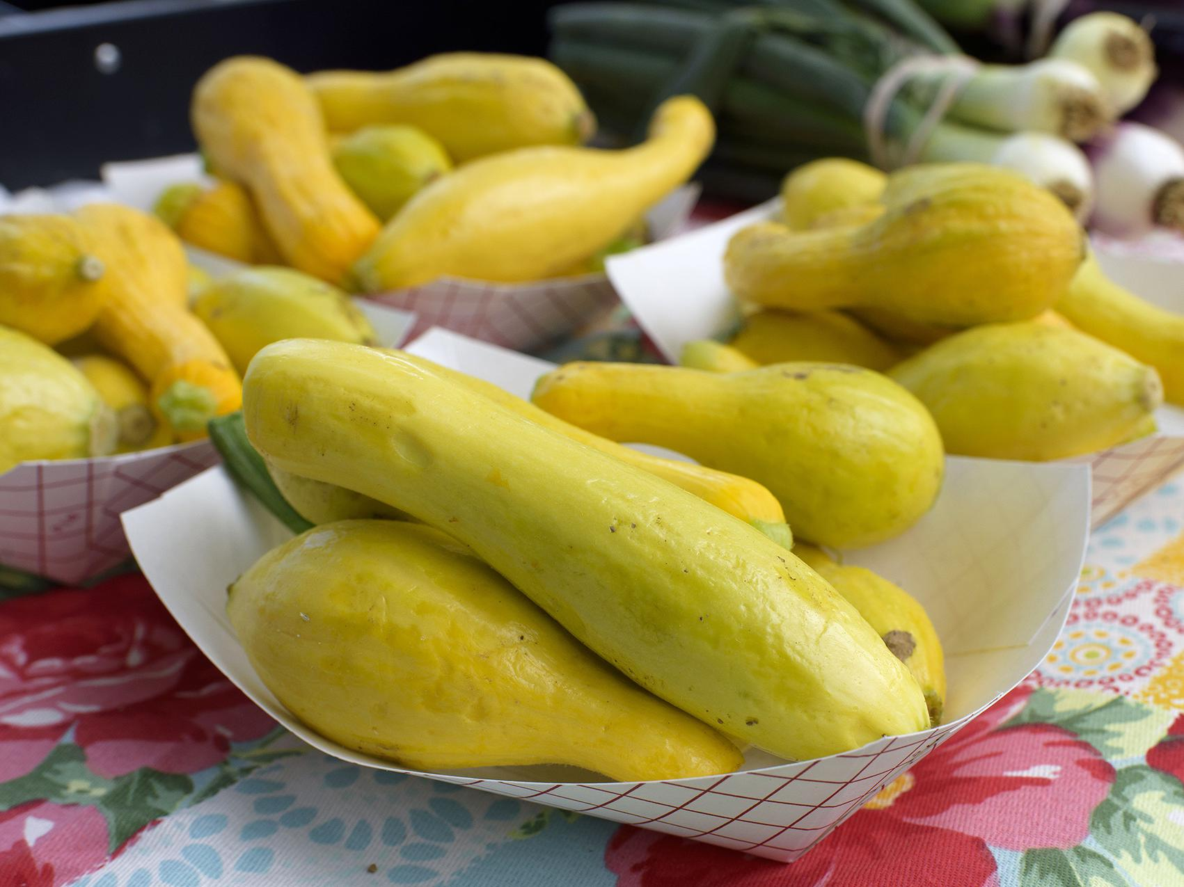 Yellow squash is among the fruits and vegetables available for purchase at the Starkville Farmers Market on May 2, 2017. Early spring temperatures allowed some truck crops producers to plant their fruit and vegetable crops a little early this year. (Photo by MSU Extension Service/Kevin Hudson)