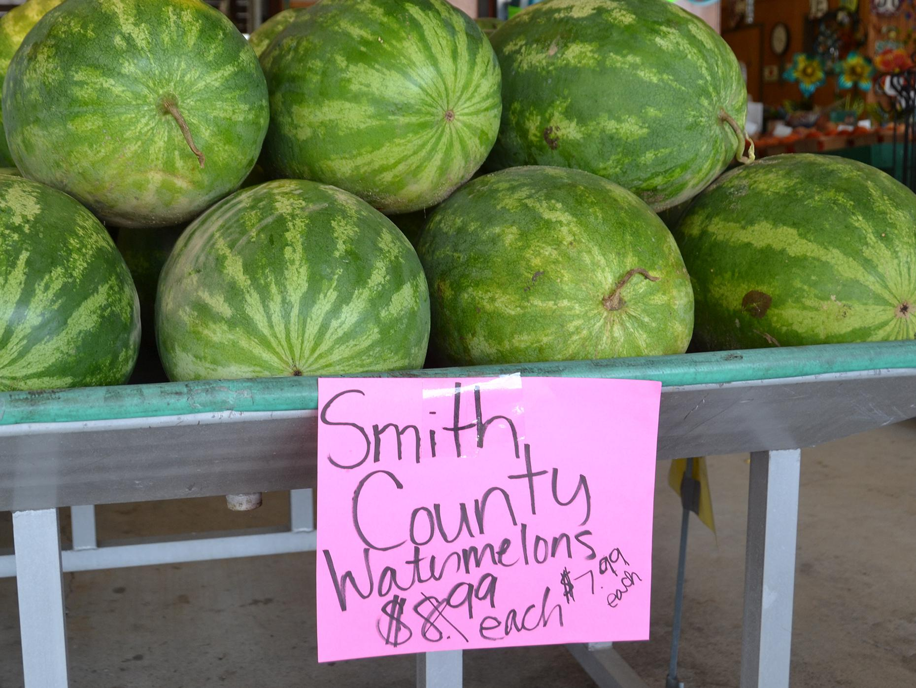 Consumers can find Mississippi-grown watermelons for their summer celebrations at stores and markets across the state, including these at the Byram Farmers Market in Byram, Mississippi, on June 27, 2017. (Photo by MSU Extension Service/Susan Collins-Smith)