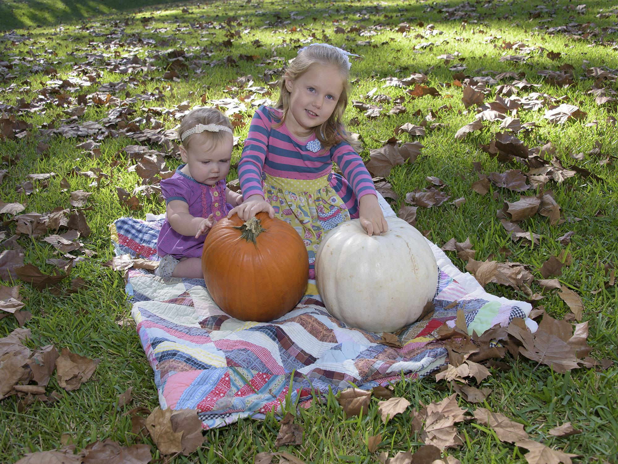Two young girls sit on a colorful quilt among leaves in the grass as they play with a white and an orange pumpkin.