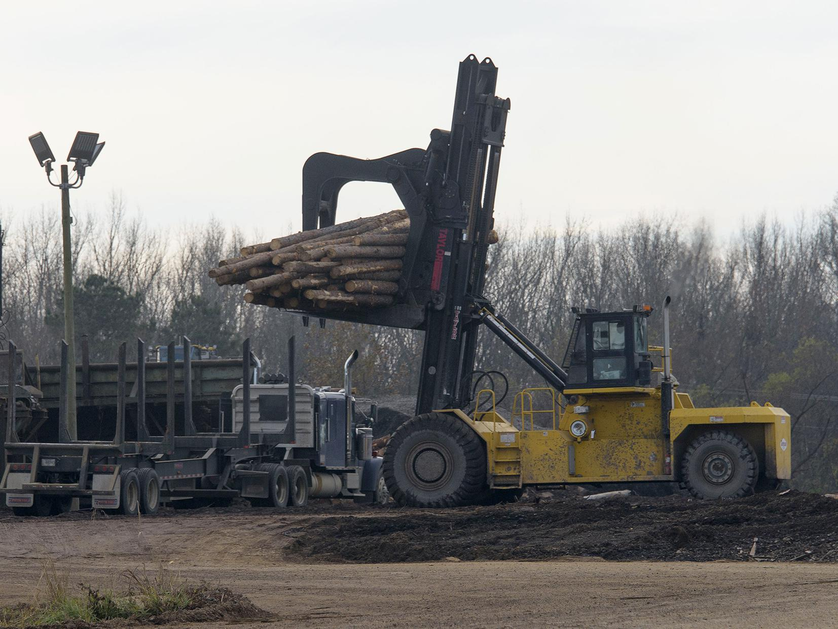 A yellow piece of heavy machinery lifts a load of cut trees off the back of a log truck in a sawmill yard.