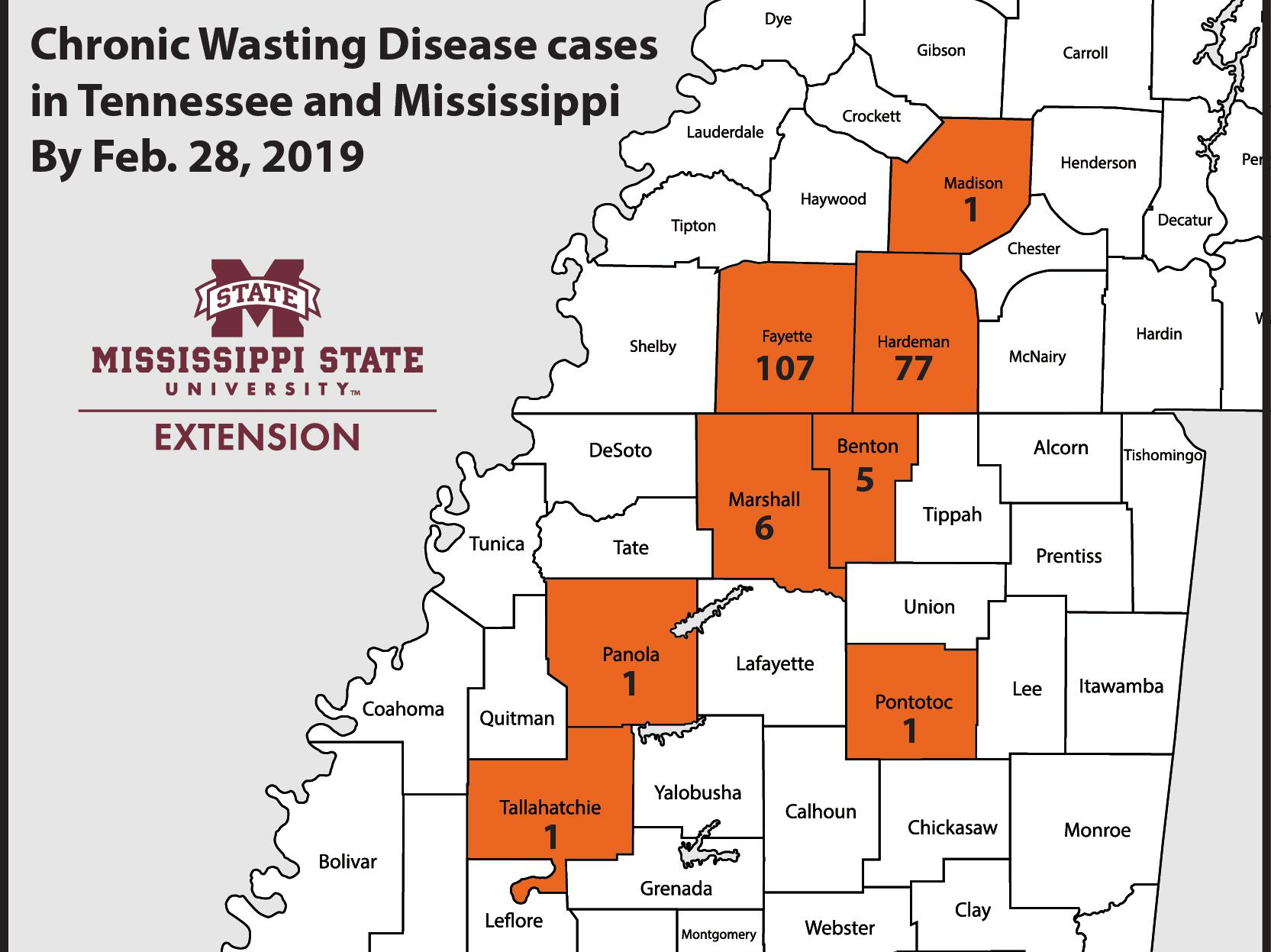 Regional map of Mississippi and Tennessee counties with cases of chronic wasting disease.