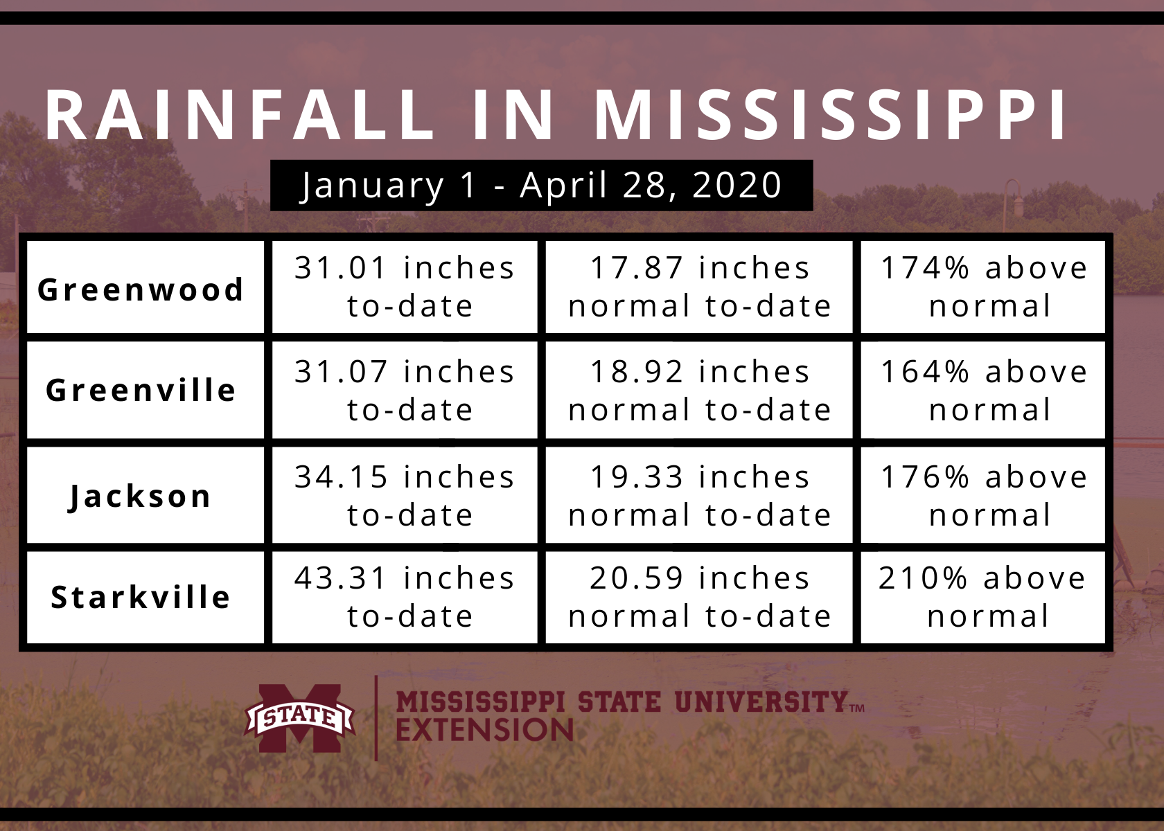 Graphic showing Mississippi rainfall totals in 2020.