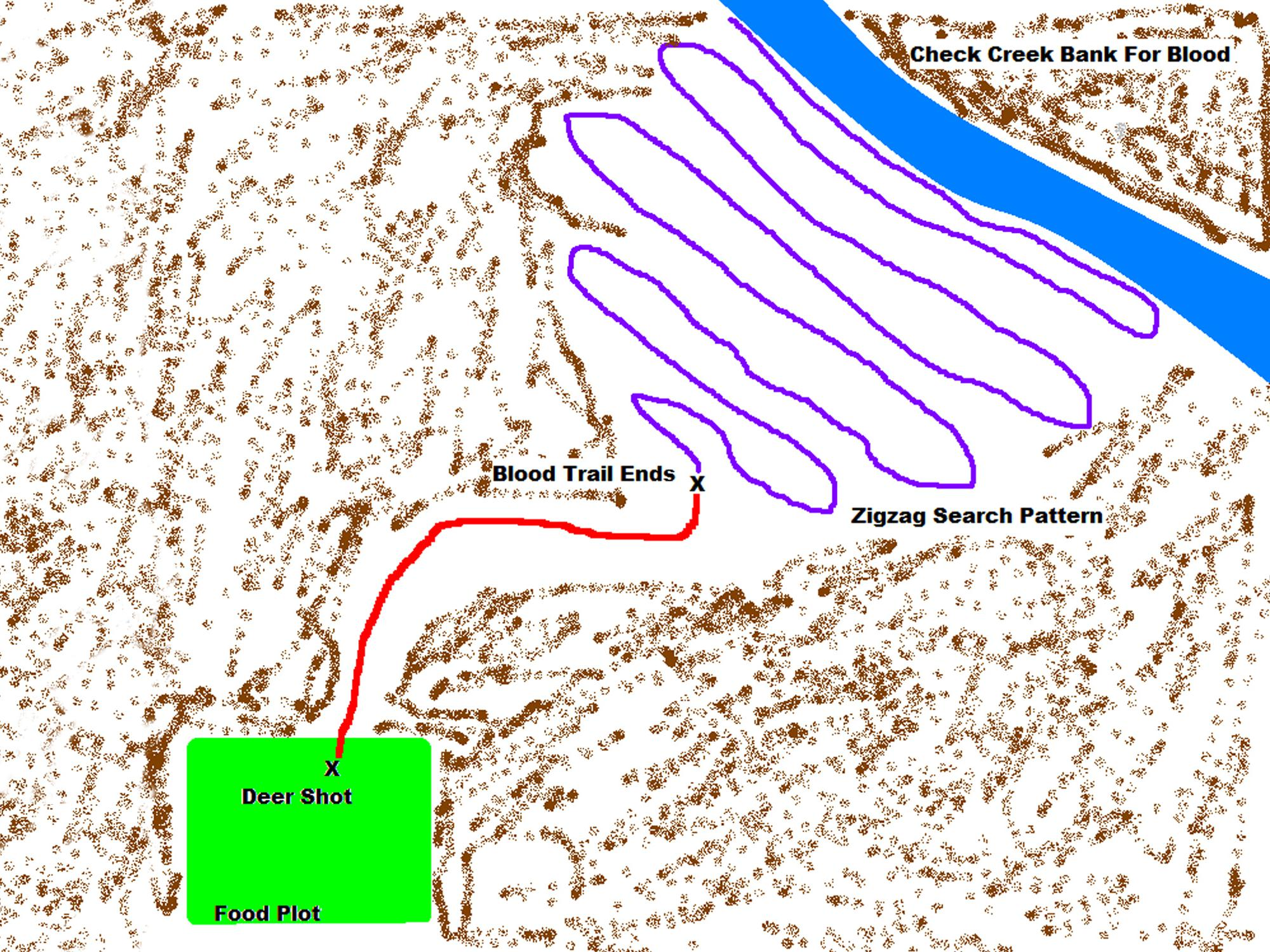 Graphic showing of map a zigzag pattern used to blood trail deer.