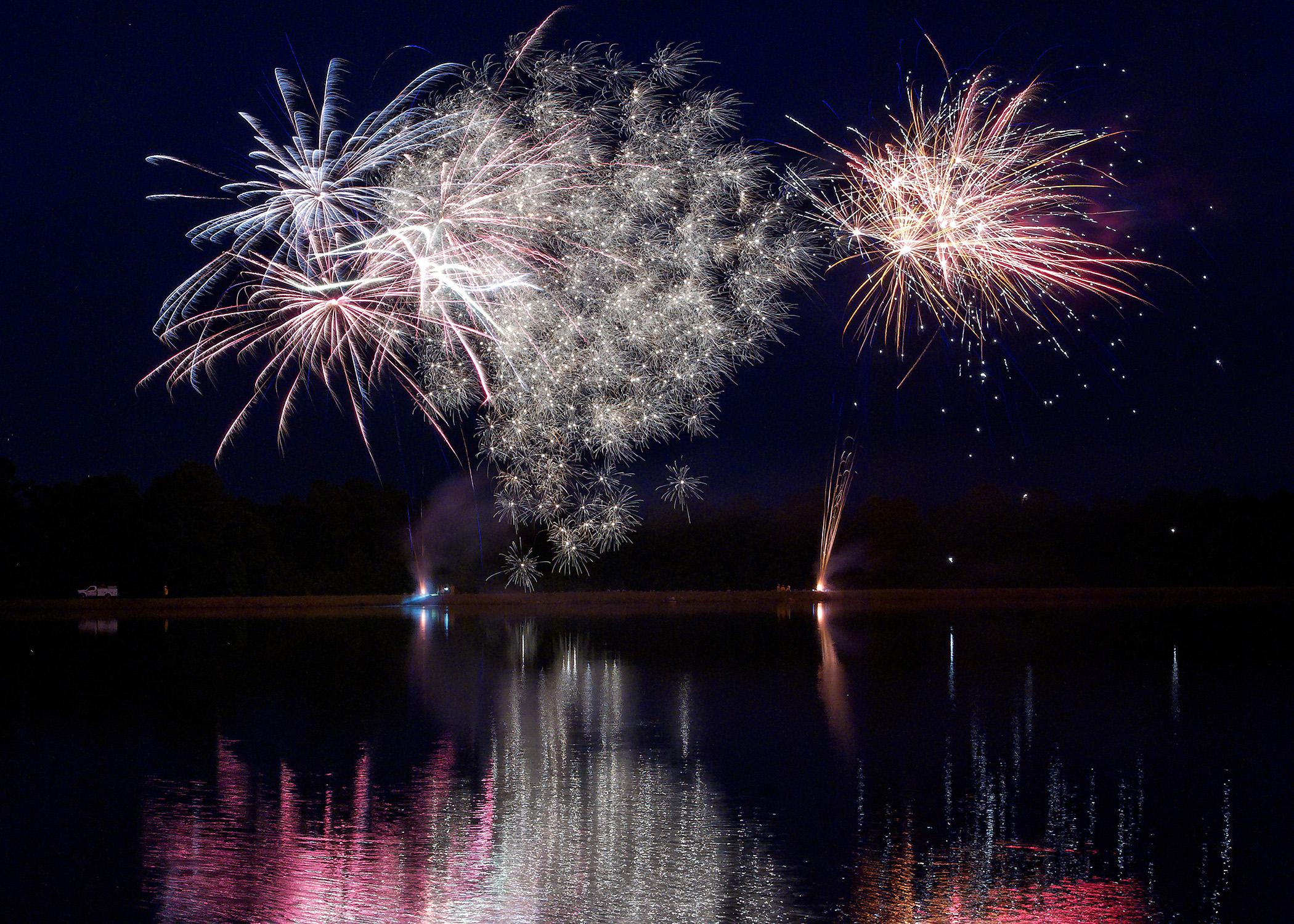 Setting off fireworks over a lake or pond away from houses decreases the risk of fires. (Photo by MSU Ag Communications/Kevin Hudson)