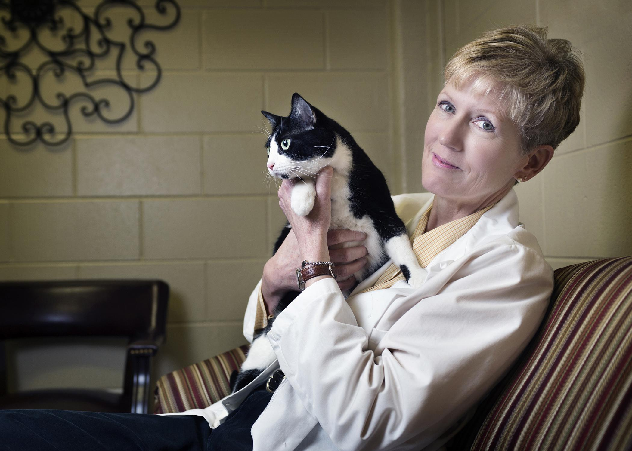 Dr. Sharon Fooshee Grace, a clinical professor in Mississippi State University's College of Veterinary Medicine, has a passion to protect the vulnerable. She works with a domestic violence shelter to provide care for victims' pets, many of which may also need protection and medical care. (Photo by MSU Public Affairs/Megan Bean)