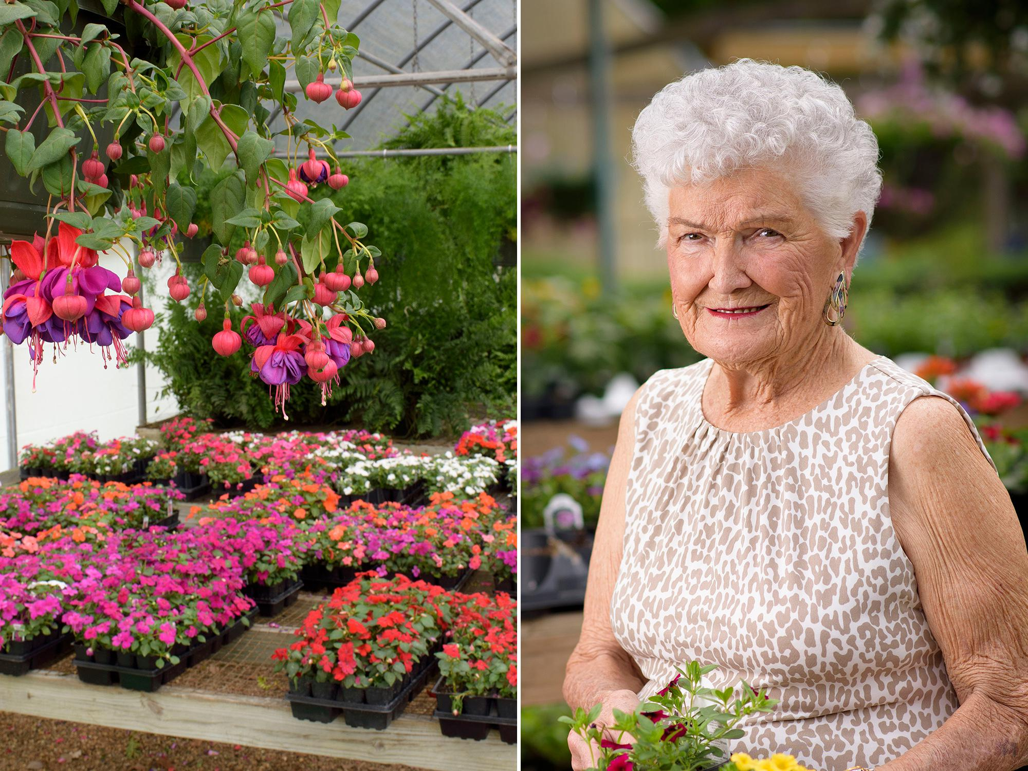 Customers still can find unusual items such as this fuchsia plant (left photo), at The Flower Center in Vicksburg. Bobbie Beard (right), former owner, began the successful horticulture business in her backyard 30 years ago. Her son and daughter-in-law now own the nursery. (Photos by MSU Extension Service/Kevin Hudson)