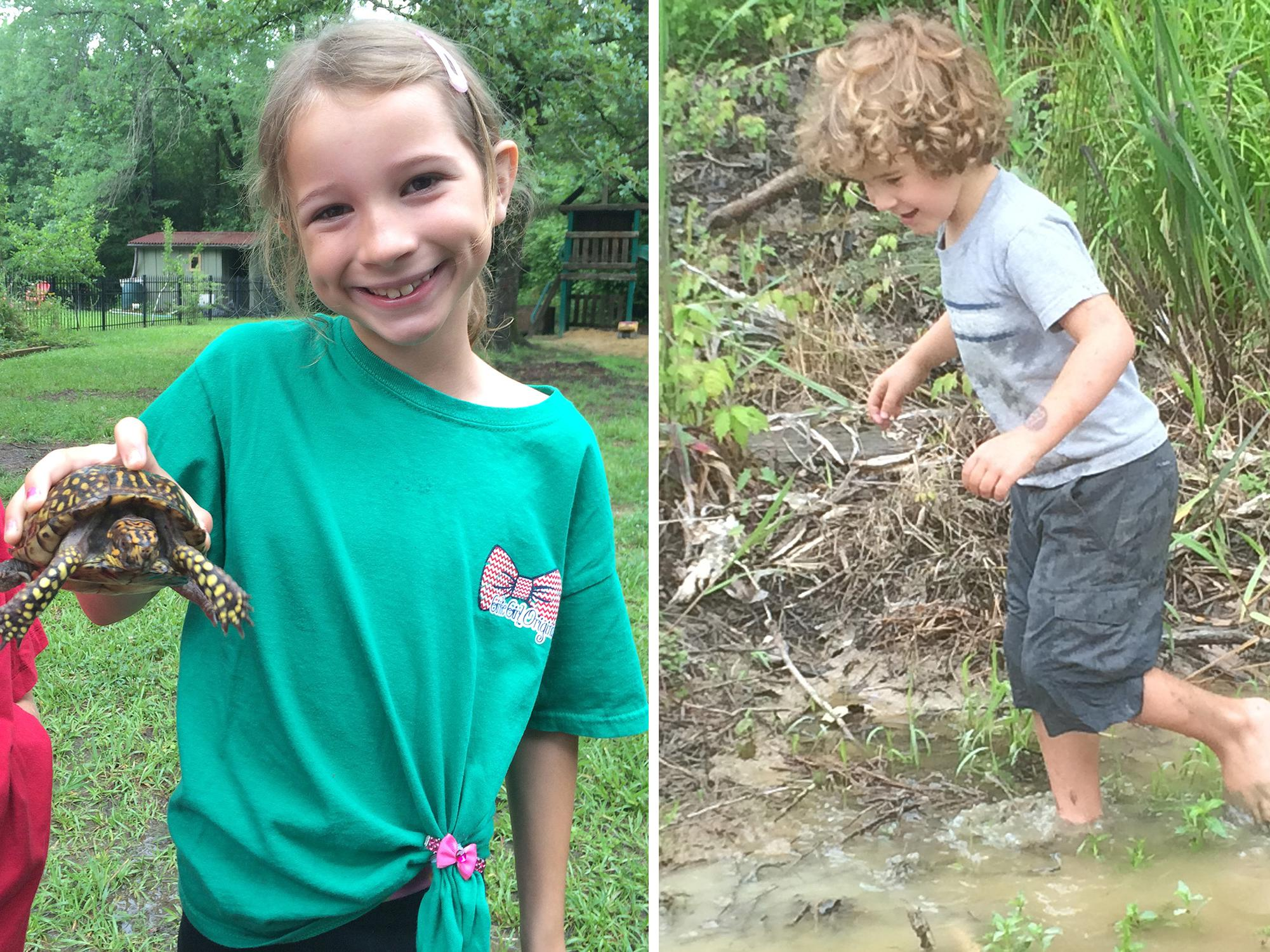 Children do not have to leave the city limits; they can explore nature in their own backyards. Eastern box turtles (left), which are native to Mississippi, are land dwellers and do not even need ponds to find friends who want to play. Getting dirty is half the fun for children exploring and playing in the great outdoors (right). Rain may drive families inside for a time, but they provide some great water features after the thunder and lightning have passed. (Photos by MSU Extension Service/Evan O'Donnell)