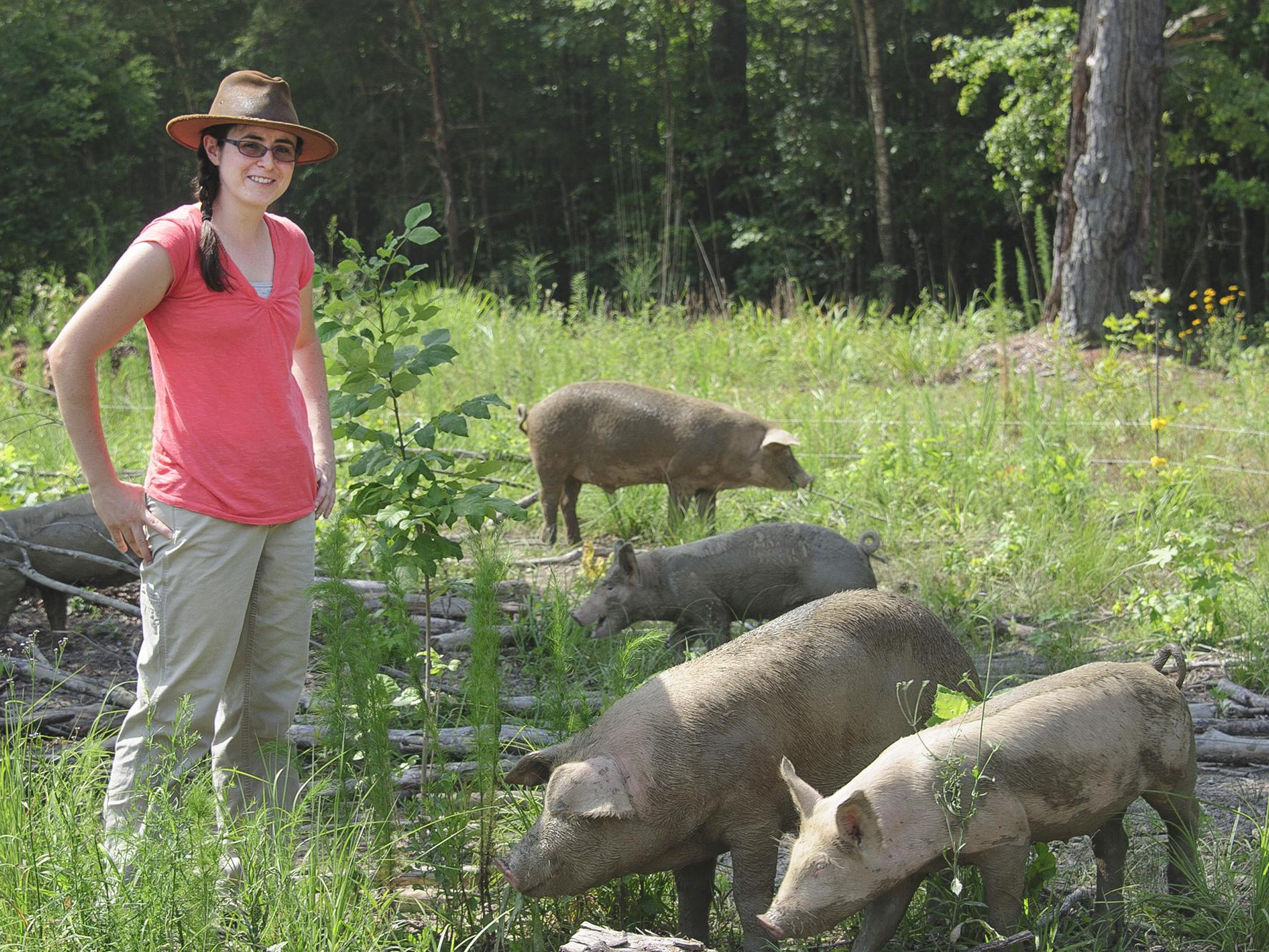 Ali Fratesi Pinion raises pigs as a healthy source of local meat and manages them to benefit the soil on her Clay County farm. (MSU Extension Service file photo/Kevin Hudson)