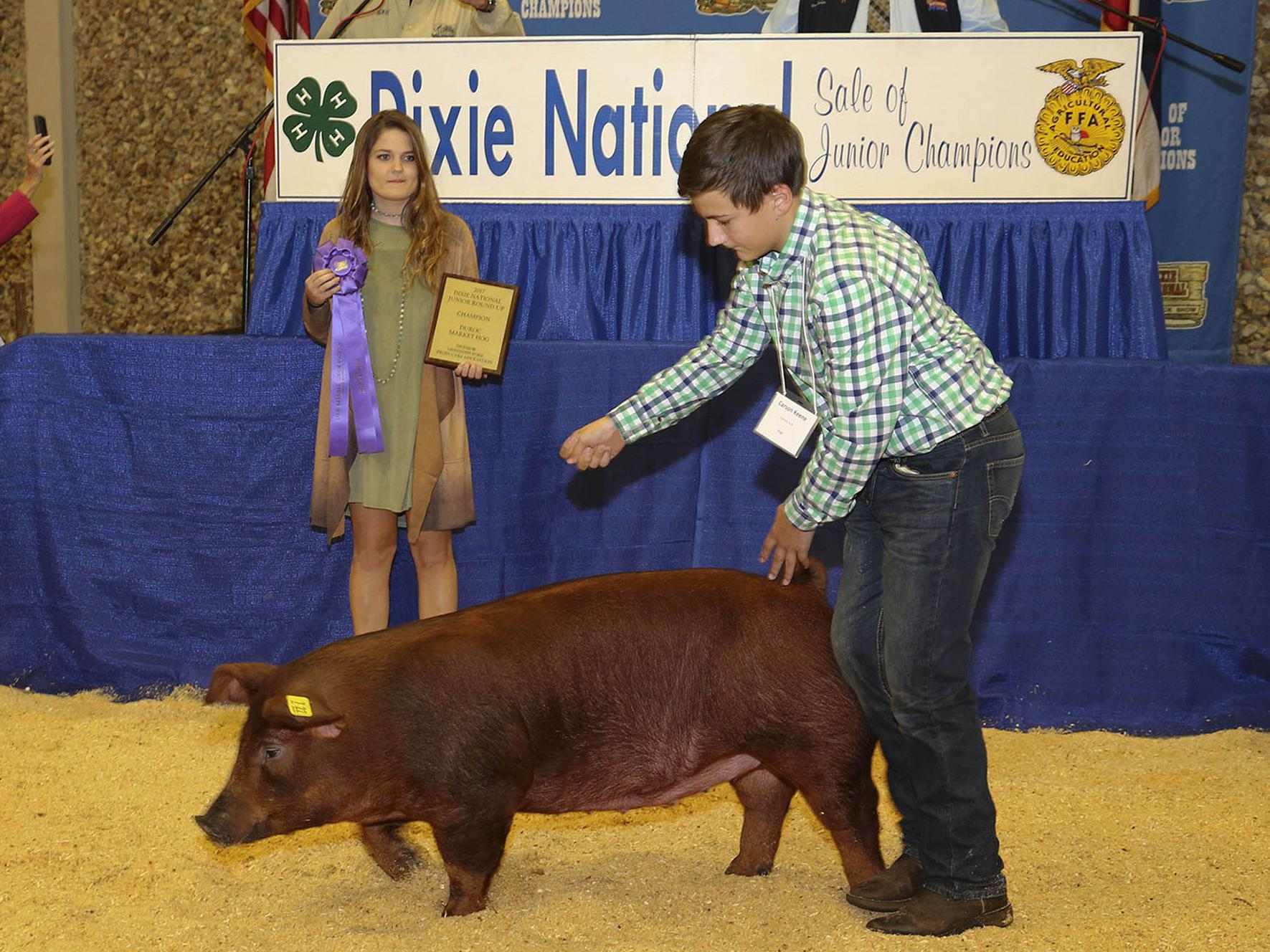 Twelve-year-old Carson Keene shows off his champion Duroc hog for bidders at the 2017 Dixie National Sale of Junior Champions Feb. 9, 2017, as his stepsister, Alexandra Pittman, looks on. (Photo courtesy of Jeff L. Homan)