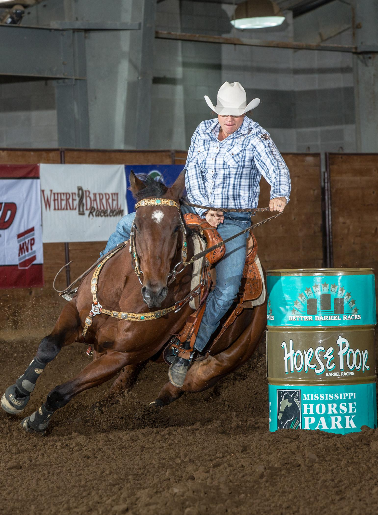 This barrel racer was one of 1,651 entries from across the country at the Mississippi Horse Park during 2013 Horse Poor event, which was held in conjunction with the Better Barrel Racing Association Eastern Regional Tour Finale. The 2014 competition will be one of 10 qualifying events for The American, the world's richest one-day rodeo final, and will be nationally televised on RFD-TV on Oct. 17. (Submitted Photo)