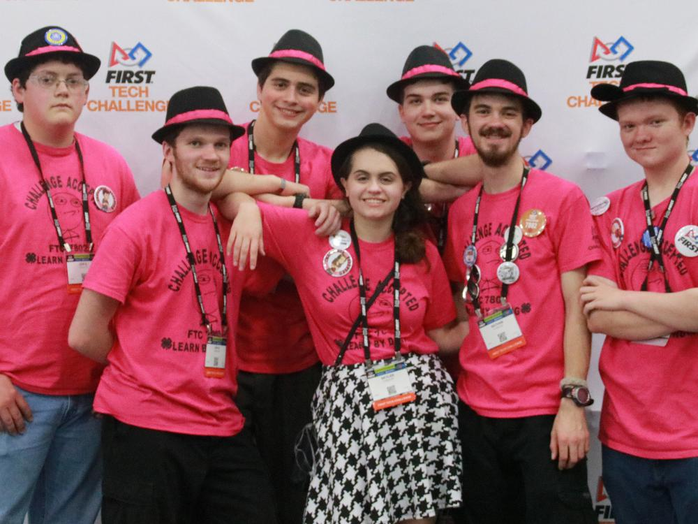 This north Mississippi robotics team, Challenge Accepted, took part in the world competition in Houston, Texas. Team members from DeSoto and Tate counties are Jon Shidler, left, Jon Rodgers, Zack Sahnger, Skyler Smith, Brandon Hess, Nathan Rodgers and Alex Turner. Members not pictured included Ella Douglas and Cade Holliday. (Submitted photo)