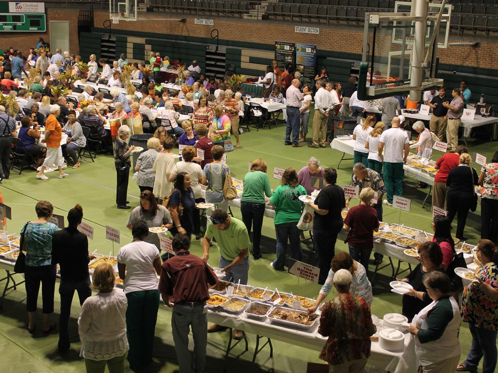 Attendees of the 27th annual Rice Tasting Luncheon can sample more than 300 rice dishes during the event Sept. 15, 2017, at the Delta State University Walter Sillers Coliseum in Cleveland. The luncheon is held in conjunction with National Rice Month and highlights Mississippi's 17 rice-producing counties. (Photo by MSU Extension Service/file photo)