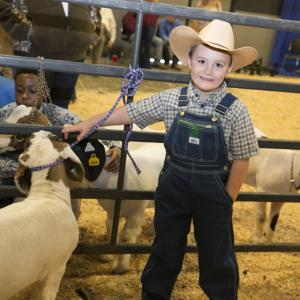 A young boy wearing overalls and a cowboy hat stands in front of a fence next to three brown and white goats.