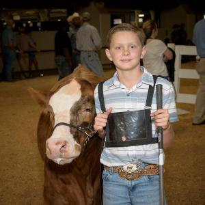 A young boy stands beside a cow at the Mississippi State Fair.