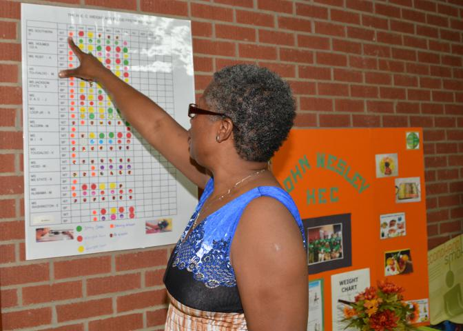 Pastor Detra Bishop reviews health progress on a participant chart in the John Wesley Health Education Center in Durant, Mississippi, on July 25, 2014. (Photo by MSU Ag Communications/Linda Breazeale)