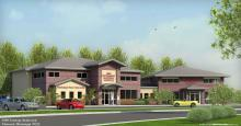 This architectural drawing represents the future veterinary complex in Flowood that will house the Animal Emergency Clinic and the College of Veterinary Medicine Referral Services Clinic. (Drawing by Crosby Longo Architecture Studio of Lafayette/New Orleans, La.)