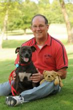 When Ole Miss alumnus Tommy Walker brought Tayson for a reunion with the critical care staff at Mississippi State University's College of Veterinary Medicine, the two left with a memento of the Bulldog welcome they received.