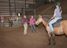 Anthony Busacca, a master's level instructor with the North American Riding for the Handicapped Association, teaches Hannah Miller, standing, and Natalie Clark Langston methods for effective and safe therapy sessions. (Photo by Scott Corey)