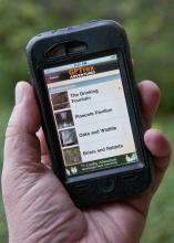 Visitors to the Crosby Arboretum in Picayune who have iPhones, iPads or iPod Touches can now experience the pond and south Savanna journey by downloading the free GPTrex App. (Photo by Scott Corey)