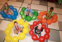 This year's Cloverbud Camp theme focused on the London Olympics, and the 5- to 8-year-old participants built robots, engaged in athletic events and learned about science and technology. Pictured from left, back row: Kylie Headley, Eric Mellin and Trukyra Lawrence, all of Starkville. Front row: Ethan Hicks of Starkville and Carter Kimzey of Columbus. (Submitted Photo)
