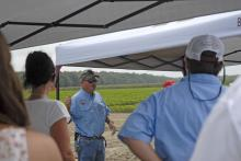 Don Cook, Mississippi Agricultural and Forestry Experiment Station researcher, spoke on insect issues related to the state's primary row crops at the Agronomic Crops Field Day at the R.R. Foil Plant Science Research Center in Starkville.
