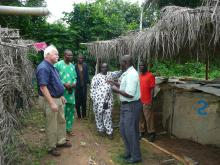 Mississippi State University veterinarian Dr. Skip Jack (left) toured a Fisheries Research Farm hatchery in Ibadan, Nigeria. Dr. Bamidele O. Omitoyial of the Department of Aquaculture and Fisheries Management speaks while Dr. Gbenga Idowo of the Christian Veterinarians Nigeria (second from left) and Dr. Tayo Babalobi of the University of Ibadan Veterinary School (in white) and two student workers listen. (Submitted Photo)