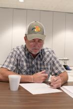Steve McMinn of Smokehouse Meats in Pontotoc completes a post test at the end of a food defense workshop held recently at Mississippi State University. (MSU Ag Communications/Keri Collins Lewis)