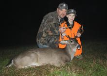 Jacob of West Virginia, pictured with his dad, Jeff, sported the required minimum of 500 inches fluorescent orange for visibility and safety when he got his first-ever whitetail deer during his Catch-A-Dream hunt in Monticello, Mississippi. The Catch-A-Dream Foundation provides outdoor experiences for children with life-threatening illnesses. (Photo courtesy of the Catch-A-Dream Foundation)
