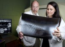 Dr. Andy Shores and Dr. Jennifer Gambino, both with the Mississippi State University College of Veterinary Medicine, examine a patient's MRI. (MSU College of Veterinary Medicine/Tom Thompson)