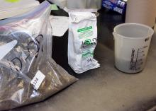 Testing for nematodes in the fall allows managers time to address any problems that are found. These soil samples await testing on Oct. 23, 2014. (Photo by MSU Ag Communications/ Kevin Hudson)