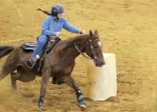 Anna Katherine Hosket, a member of the Mississippi State University Extension Service 4-H program in Choctaw County, runs barrels in the 2017 4-H Winter Classic horse show series. Show organizers and participants celebrated the event's 10th anniversary on March 31. (Photo courtesy of Gina Wills)
