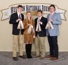 Lincoln County 4-H members (from left) Jacob Johnson, Anna-Michael Smith, Walker Williams and Will Watts earned ribbons and placed eighth at the Western National 4-H Roundup in Denver. (Submitted photo)