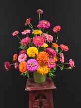 A arrangement of pink, orange and yellow zinnias sit on a stool against a black background.