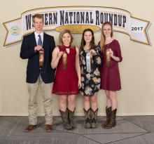 Union County 4-H members (from left) Avery Moody, Mallory Moore, Lana Estes and Ashton Buscha placed eighth in the team judging phase of hippology. Estes earned the 10th high point individual overall judging and honorable mention in the written exam and slide phase. (Submitted photo)