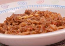 A close-up of a dish of Quick Taco-Mac.