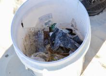 Bucket full of trash.
